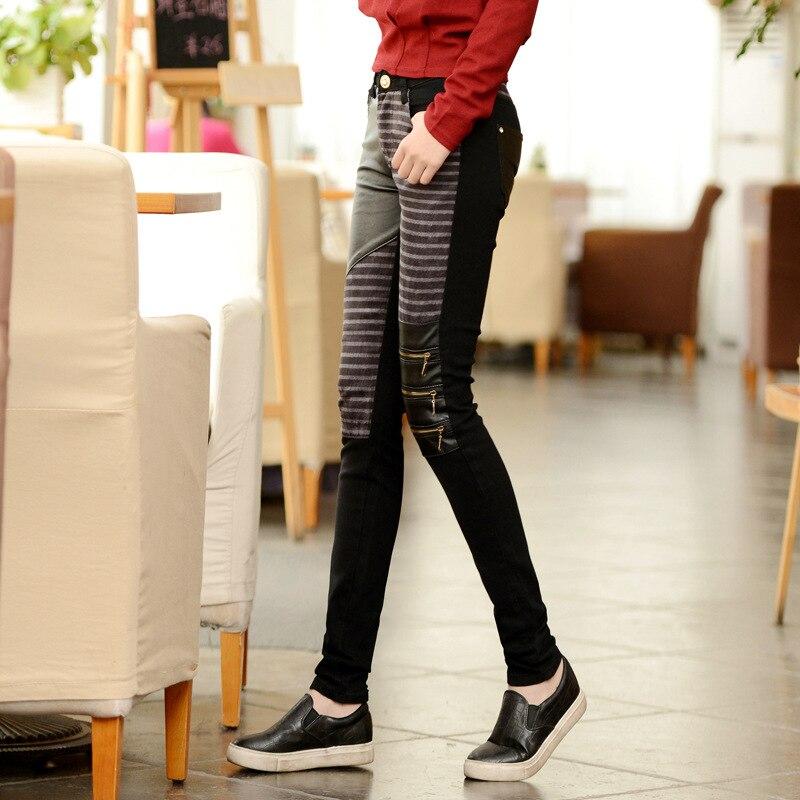 Frauen Mode PU leder patchwork jeans engen hosen Große größe