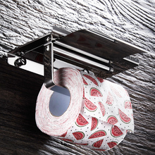 Toilet Roll Paper Holder Wall Mount Stainless Steel Bathroom Tissue holder with Mobile Phone Storage Shelf Rack