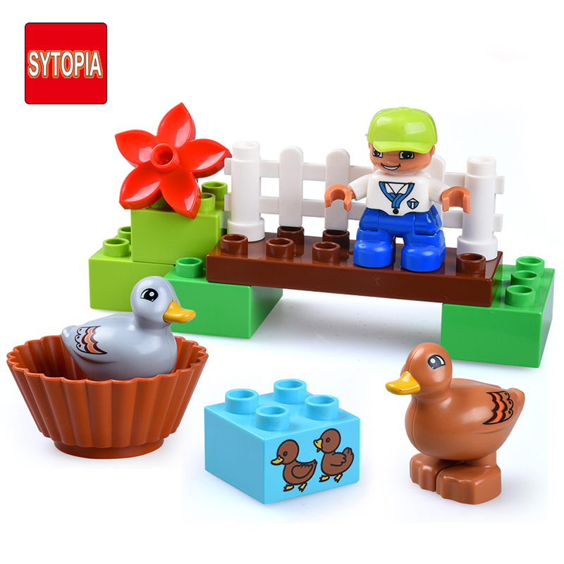 Sytopia Country River Farm Children Building Blocks Big Size Educational Toys For Baby Kid Gift Toy Compatible With Duploe xizai connection blocks cartoon building toy big size kitty assembly educational intelligence blocks melody for children gift
