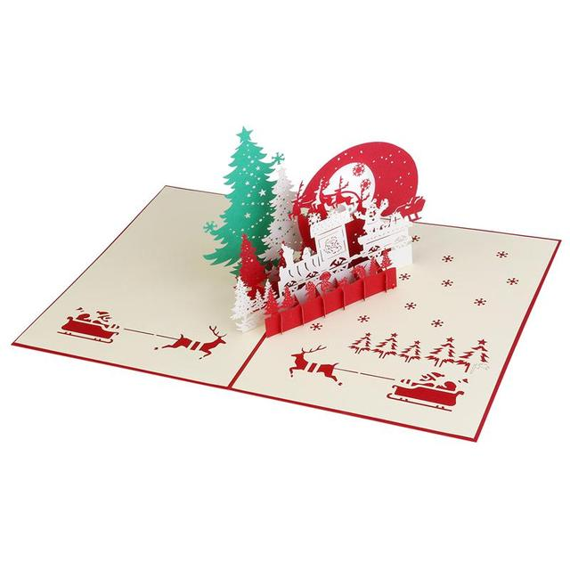 Merry Christmas 3D Pop Up Christmas Eve Greeting Cards For