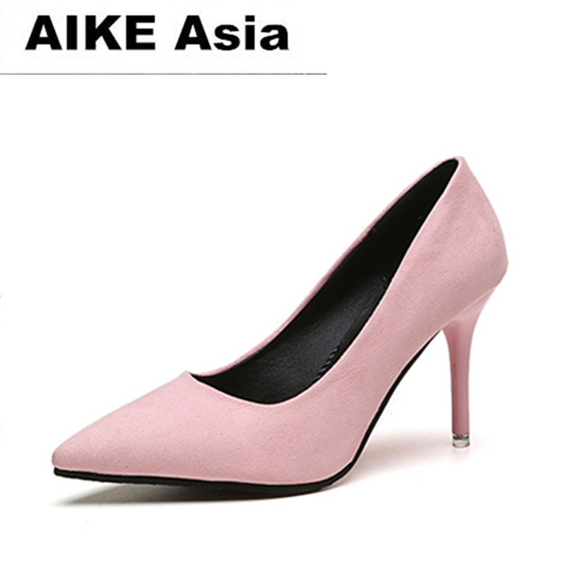 2018 HOT Summer Women Shoes Pointed Toe Pumps Suede Leisure Dress Shoes High Heels Boat Wedding tenis feminino 7cm Sexy #9832018 HOT Summer Women Shoes Pointed Toe Pumps Suede Leisure Dress Shoes High Heels Boat Wedding tenis feminino 7cm Sexy #983