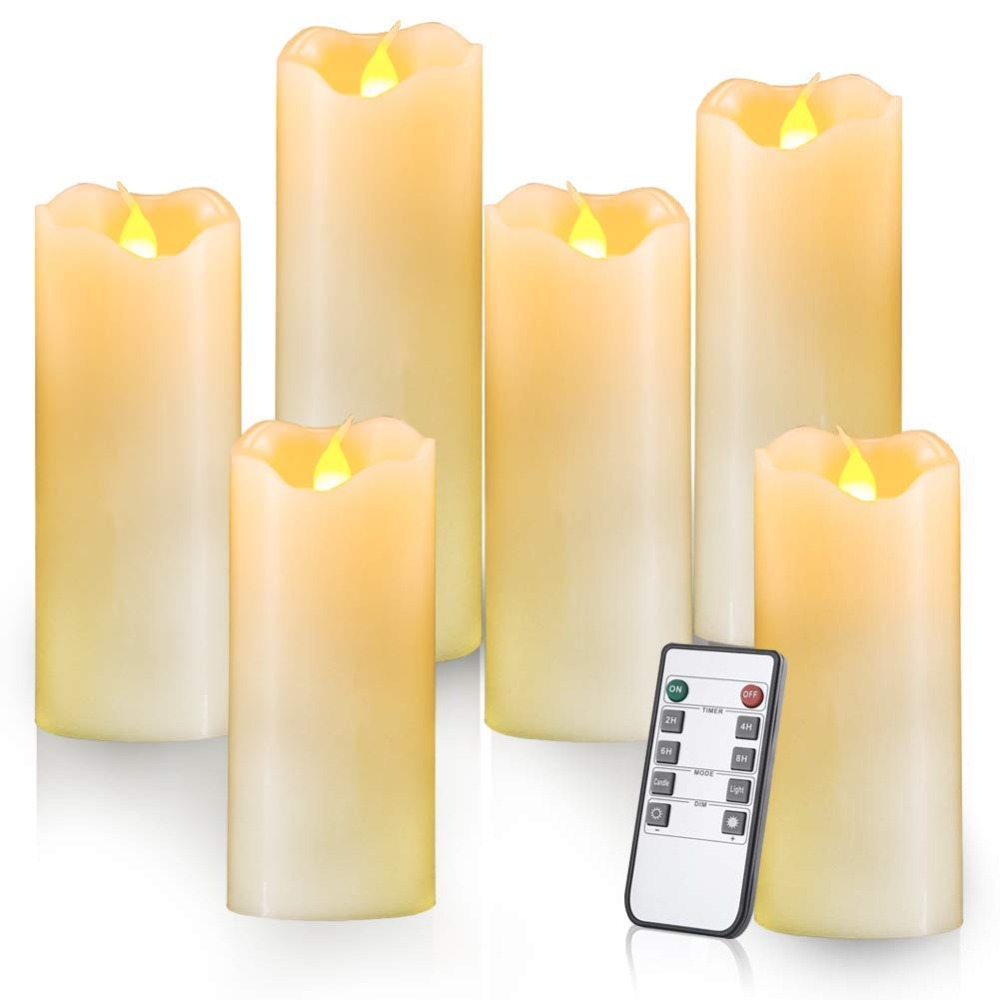 Pack of 5 Flickering Yellow Remote Control LED Flameless Wax Candles,Timer Battery Paraffin Pillar Candles For Dinner Decoration