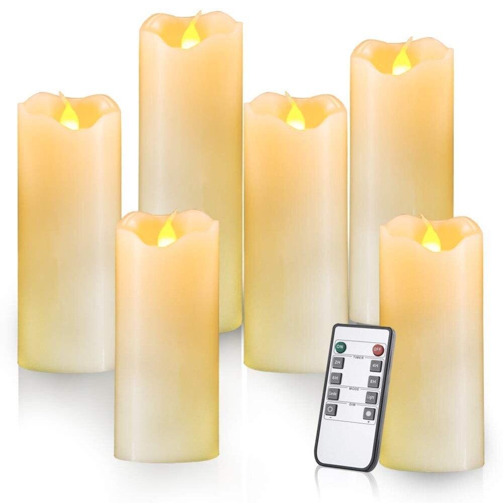 Pack Von 5 Flackern Gelb Fernbedienung Led Flammenlose Wachs Kerzen