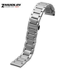 Reloj de accesorios para hombre reemplazo 22 mm venda de reloj de plata de acero inoxidable reloj de la correa pulseras