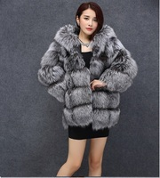 Real fox fur coat with hood for winer women thick warm genuine sliver fox fur coats excellent quality 60cm length C121