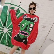 Tops Blusa Winter Thailand New Tide Card Printing Little Monster Loose Long Sleeved Sweater Women Sweatshirts Hoodies Free Size