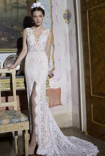 Cheap White Lace Wedding Dresses 2016 Slit Long Vintage Bridal Gowns ...