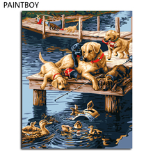 Dogs Painting Framed Pictures Painting By Numbers DIY Digital Canvas Oil Painting Home Decor Wall Art GX7092 40*50cm(China)