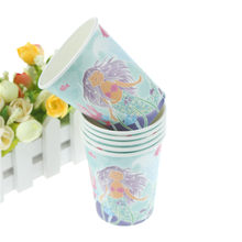 6Pcs/lot Little Mermaid theme paper cup cups tableware Party decoration drinking cups for kids birthday(China)