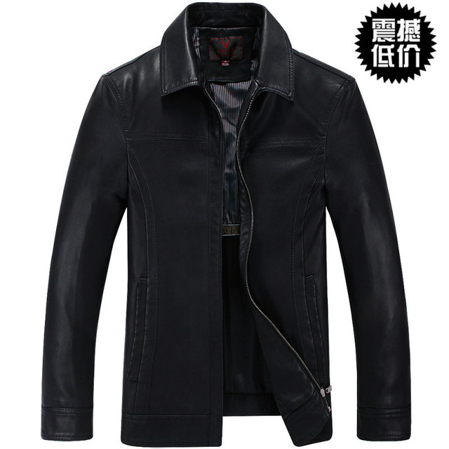 2014 short design leather jacket quinquagenarian male genuine leather clothing men's clothing plus velvet outerwear male /M-3XL