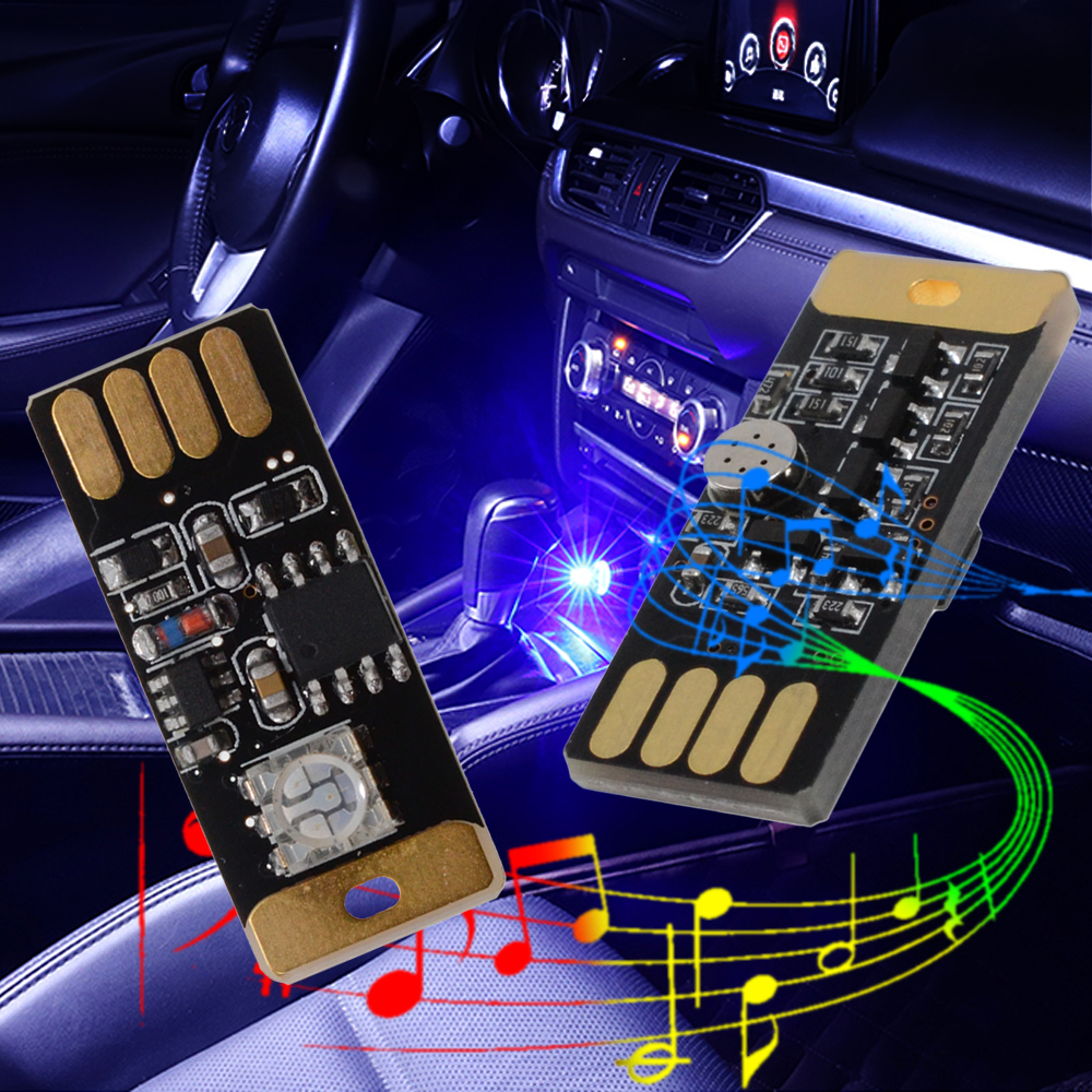 Coche Usb Led Música Reproducción Luz Regulable Lámpara Decorativa Iluminación De Emergencia Enchufe Portátil Y Reproducción Rgb Voz Activada