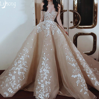 Gorgeous Champagne Appliques Puffy Evening Dress Custom Made New Design Women Formal Maxi Gown for Celebrity Red Carpet Wedding