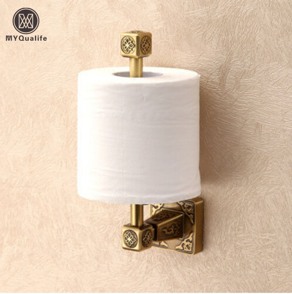Free Shipping 100% Brass Standing Toilet Paper Holder Wall Mount Antique  Roll Paper Tissue Hanger free shipping ba9105 bathroom accessories brass black bronze toilet paper holder
