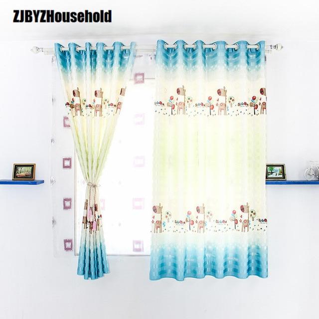 Jungen und Mädchen Schlafzimmer Vorhänge Cartoon Blau Rosa Druck ...