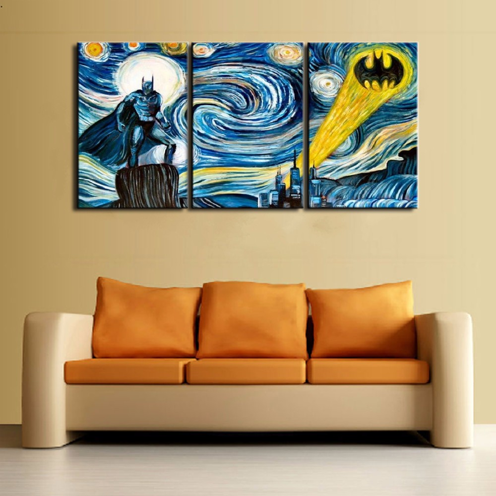 Modular Pictures Art Canvas Painting Style Wall 3 Panel Batman ...