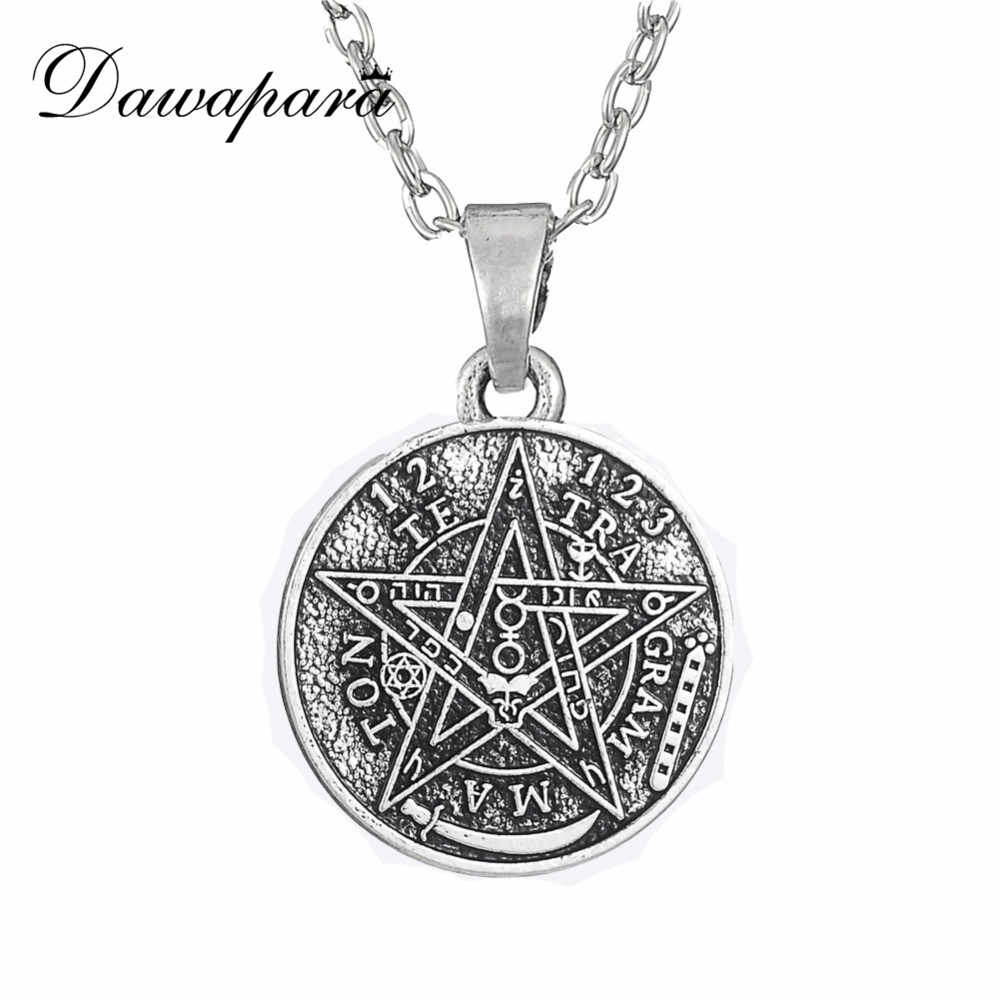 Dawapara Satan Tetragrammaton Pentagram Pentacle Pendant Necklace Wiccan Pagan Jewelry Antique Silver Link Chain Christmas Gift