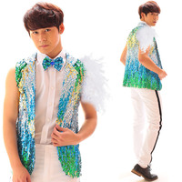 Vest Tie Fashion Men S 2 Style Multicolour Sequins Vest Costume Male Dj Rock Jazz