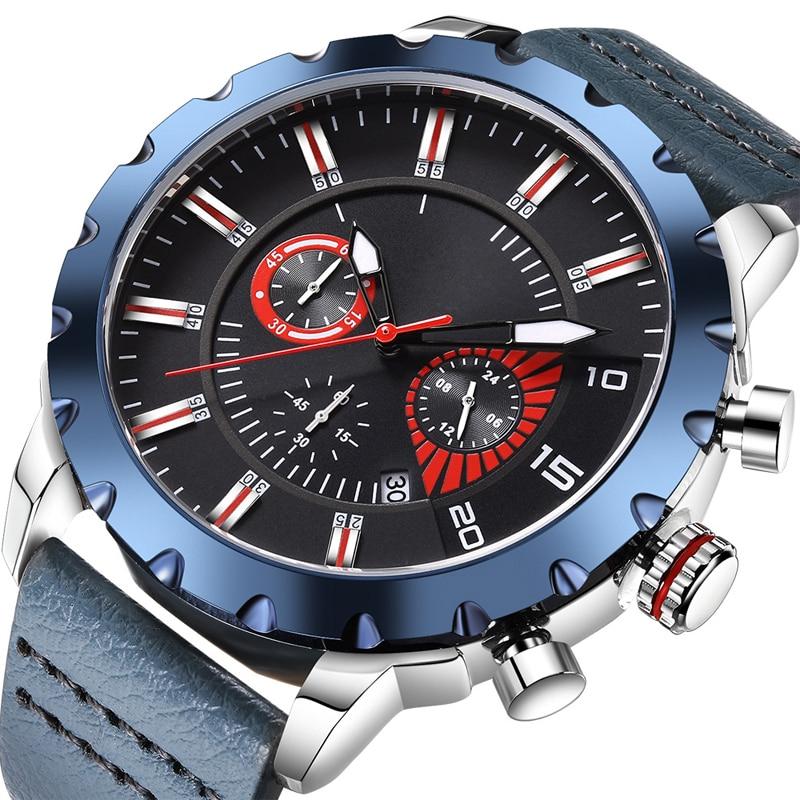 Multifunction Men Business Sport Outdoor Quartz  Leather Strap Watches 30M Waterproof Luminous Calendar Date Display Wristwatch