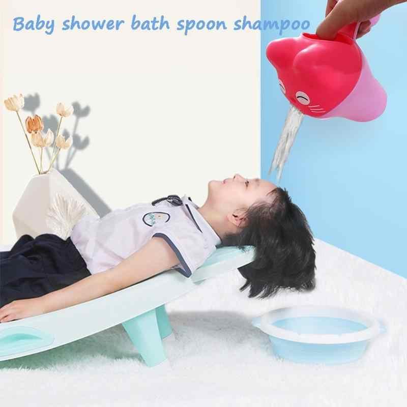 ซักผ้าเด็กผมขวดเครื่องมืออาบน้ำน่ารักการ์ตูนเด็กหมวกเด็กวัยหัดเดินแชมพูถ้วยเด็กชุดว่ายน้ำ Bailer Baby Shower ช้อน