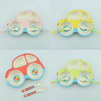 3pcs/set baby dishes Bamboo fiber Cartoon Car natural environmental dinnerware for kids children tableware set