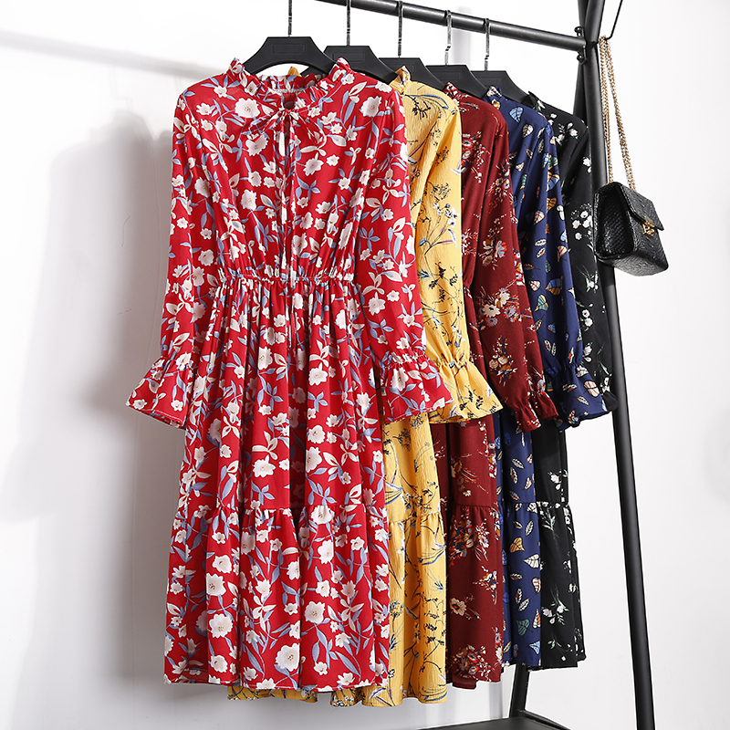 19 Autumn Winter Dress Women Chiffon Midi Casual Red Floral Long Sleeve Office Dress Polka Shirt For Ladies Dress Vestidos 35