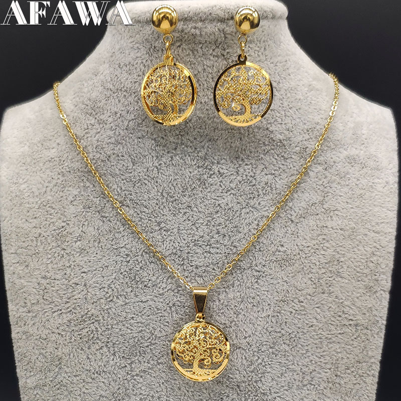 2020 Tree of Life Stainless Steel Jewellery Set Women Gold Color Earring and Necklace Sets jewelry joyeria acero inoxidable S178