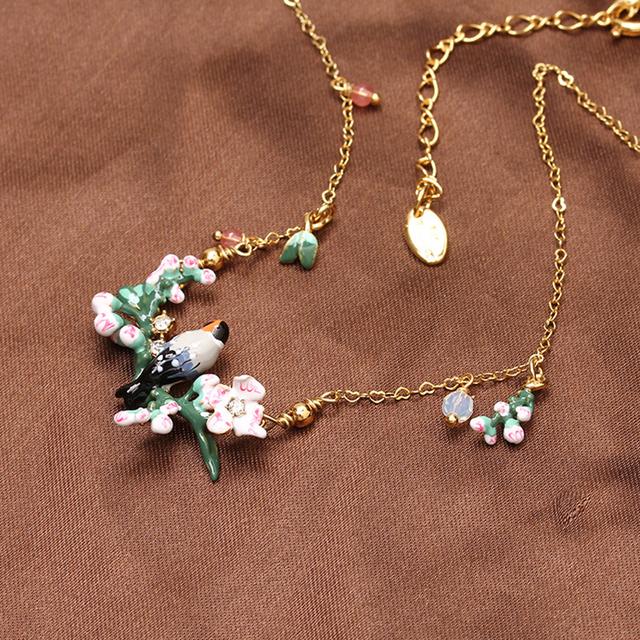 Les Nereides simples elegantes flores de cerejeira flor pássaro colar para mulheres Lady partido Prom colar melhor presente