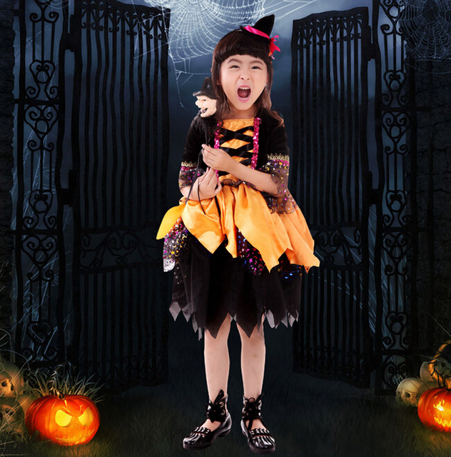 d64f0e16570fb DJGRSTER 2017 New Hot Selling Little Kid Halloween Costume Children Witch  Costume Sexy Fancy Dresses High Quality Cosplay