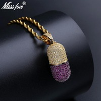 MISSFOX Hip Hop Thread Handling Capsule Detachable Personalized Necklace 24K Gold Plated Cubic Zirconia Avocado Locket Pendant