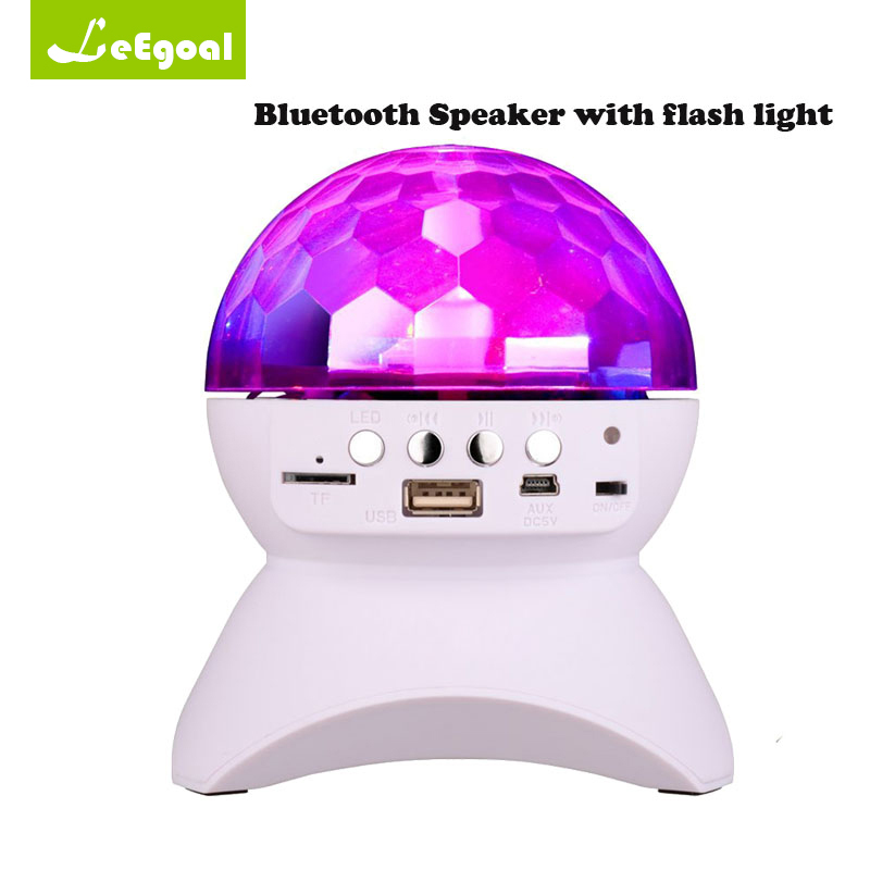 Disco DJ Party Bluetooth Speaker Built-In Light Show Stage Effect Lighting RGB Color Changing LED Crystal Ball Support TF AUX FM ws 980 car model style portable 2 channel rgb light speaker w fm tf black transparent