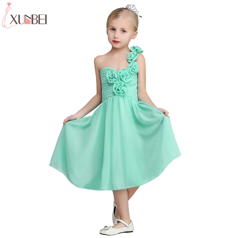 Real Photo Mint Green Tea Length   Flower     Girl     Dresses   2019 Chiffon Communion   Dress   With One Shoulder Pageant   Dresses   For Child
