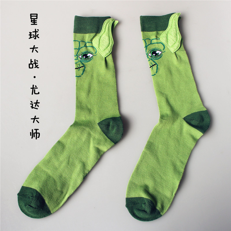 New Star Wars character cotton   socks   Yoda grandmaster seam male   socks   funny ears 3D cartoon   socks   Meias Hemp man   Socks
