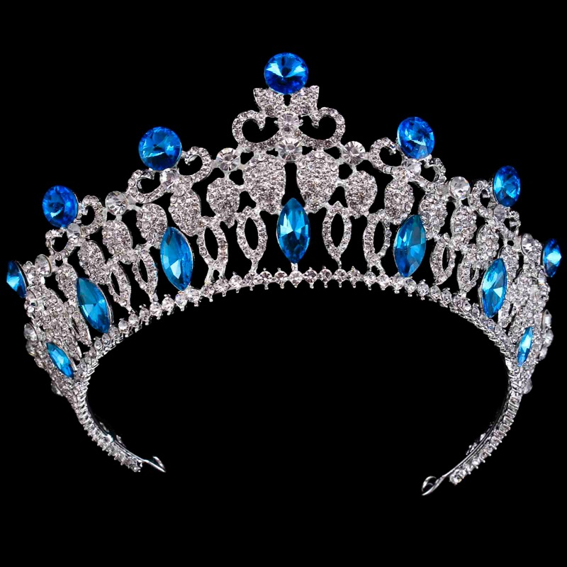 2018 New Style Bride Wedding Hair Accessories Crown Tiara Sea Blue Crystal Princess Birthday Party Crown Bridal Hairband Jewelry 2017 new spring flower crown hairband bridal wedding hair accessories rose floral wreath for kids head tiara garland