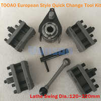 TOOA0 Lathe Swing Dia. 120~220mm Quick Change Tool QCT Post Turret Kits include 1pcs tool post+4pcs Tool Holders