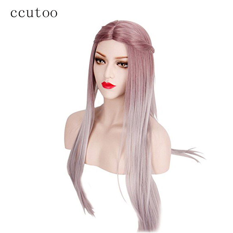 ccutoo 70cm Long Straight Central Part Styled Synthetic Hair Party Cosplay Costume Wigs Peluca