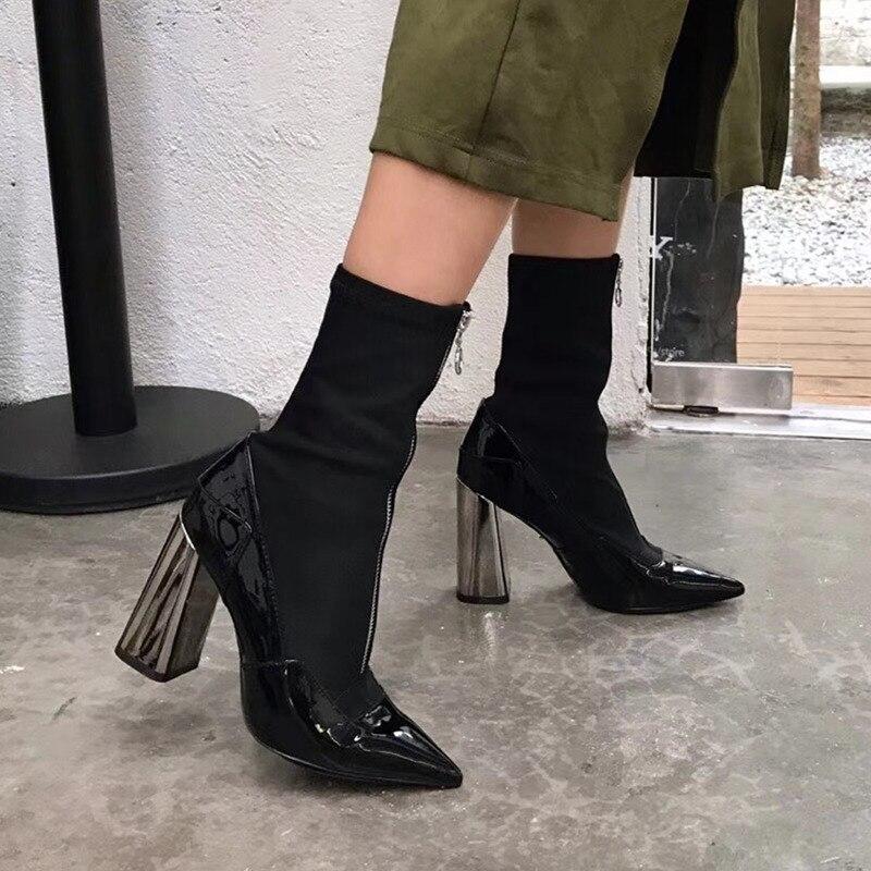 купить SMONSDLE Black Red Genuine Leather Women Ankle Boots Sexy Pointed Toe Zip Chunky High Heel Women Spring Autumn Boots Shoes Woman по цене 7281.85 рублей