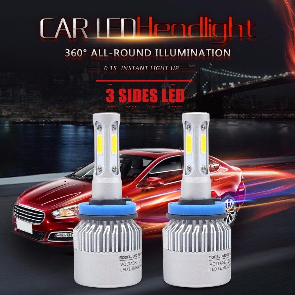 3 Sides COB Chips H11 LED Bulb 72W 8000LM H8 H9 LED Car Led Headlight Automobile Headlamp Fog Light Bulb 6500k 12V 8 6609107 9 filters beads and chips mr li