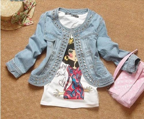 2012 new arrival rivet ornament denim coats /jackets big size cute elegant short cowboy coat free shipping