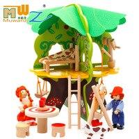 Bloco De Madeira 3D DIY Casa Na Árvore Modelo Modelo 3D Blocos De Construção De Brinquedos De Madeira Crianças Aprendendo Brinquedos Educativos para Crianças Handmade DIY