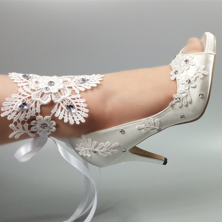 цена на Peep Toe White lace-up party shoes Women's Pumps Fish toe Wedding shoes Bridesmaid Dress shoes New fashion Pumps shoes