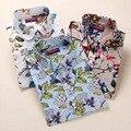Nueva Moda Floral Camisa de Las Mujeres Da Vuelta-Abajo de Algodón Señoras de La Blusa de Manga Larga Blusa Del Verano Mujeres Ocasionales Camisas Floreadas femenino
