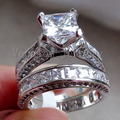 Vecalon Fashion Jewelry 7mm Cz diamond  Engagement Wedding Band Ring Set for Women 14KT White Gold Filled Party ring