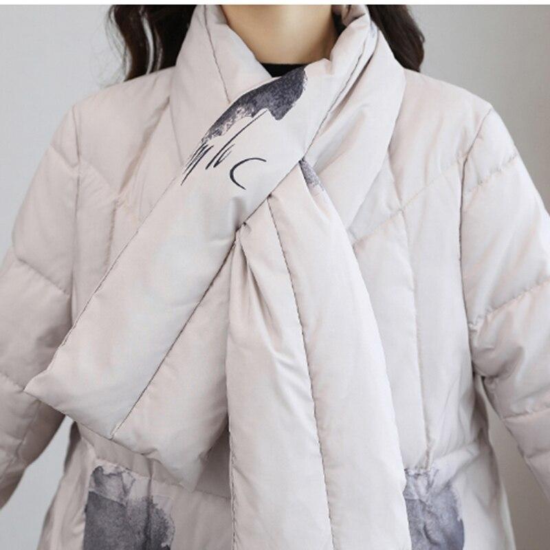 2018 Femelle Manteau Survêtement D'hiver creamy Bouton Parka Rond Chaud dark Haut Couvert Nouvelle Down Veste De L827 Long Col Impression Gamme White Femmes Mode Gray Black SnUtH