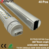 New style! Led Lamp 8ft T8 Led Tube Double Sides Split Tube 2400mm 50W 6000lm 360 Beam Degree Super Bright AC100 265V