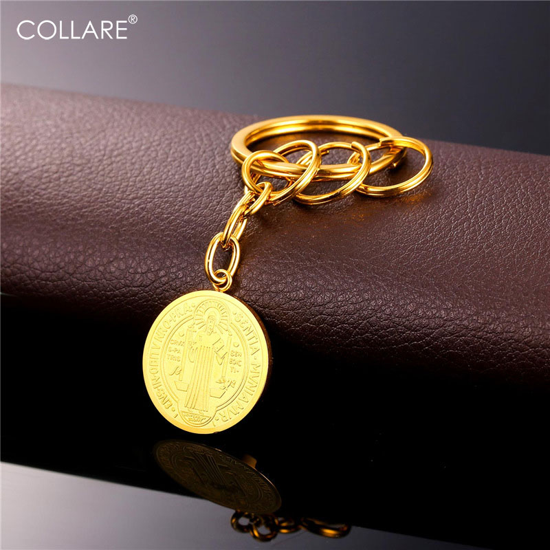Collare vintage saint benedict medal key chain gold color collare vintage saint benedict medal key chain gold color stainless steel vintage key pendant for women men key rings k109 aloadofball Image collections