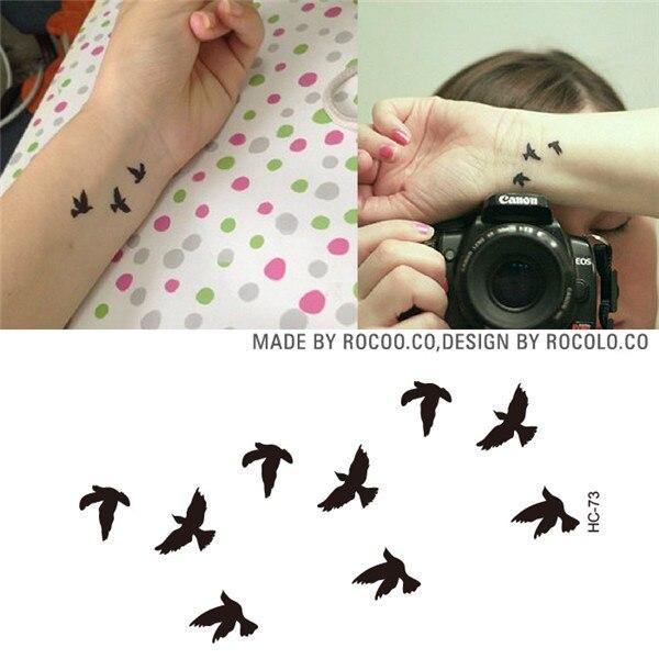 HC1073 Women Sexy Finger Wrist Flash Fake Tattoo Stickers Liberty Small Birds Fly Design Waterproof Temporary Tattoos Sticker