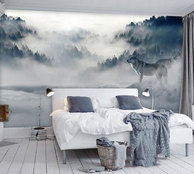 Mountain Fog Forest Wolf Animal 3D Papel Mural Wallpaper for Bedroom Sofa Background 3d Wall Photo Murals Wall paper 3d Sticker white horse animal murals 3d animal wallpaper papel mural for dinning room background 3d wall photo murals wall paper 3d sticker