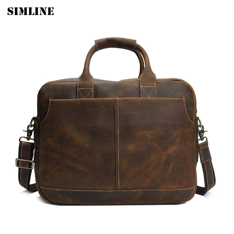 Brand Vintage Business Genuine Crazy Horse Leather Cowhide Men Men's Handbag Handbags Shoulder Bag Bags Male Briefcase For Man joyir men briefcase real leather handbag crazy horse genuine leather male business retro messenger shoulder bag for men mandbag