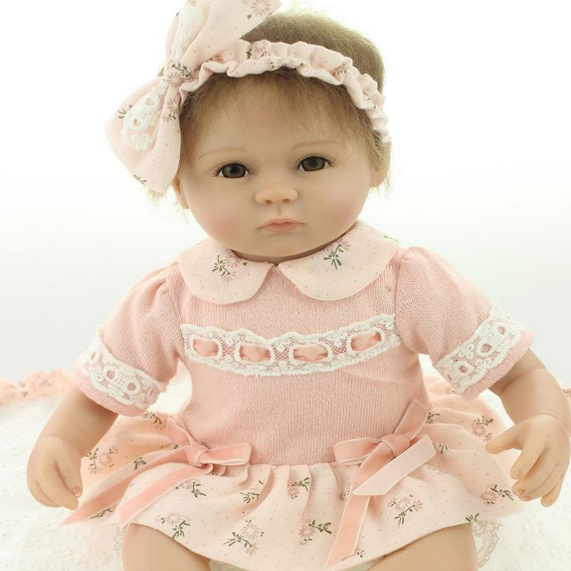 45cm Toy Red Girl Boy Eyes Open Nicery Reborn Baby Doll Soft Silicone 18in