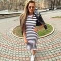 2017 Women Autumn Summer Black&white Striped Bodycon Dress Short Sleeve Casual Slim Pencil Plus Size Dresses